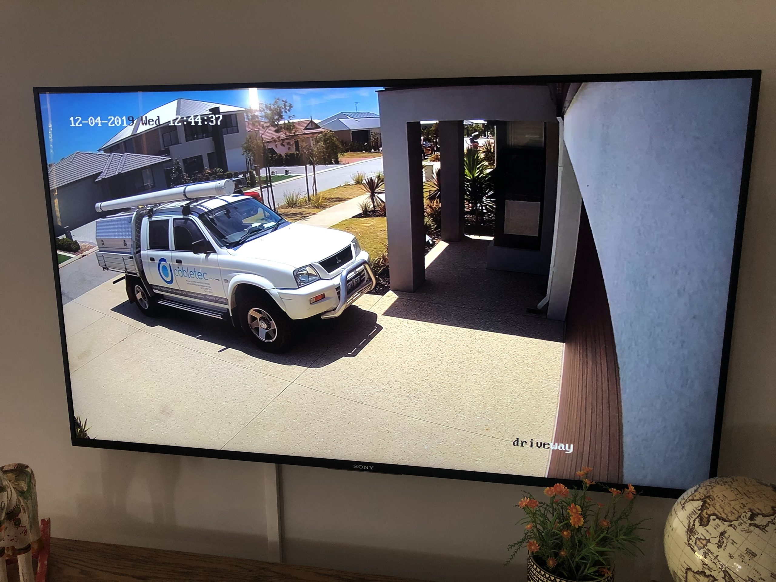 Cabletec's Van shown on customers TV through cameras